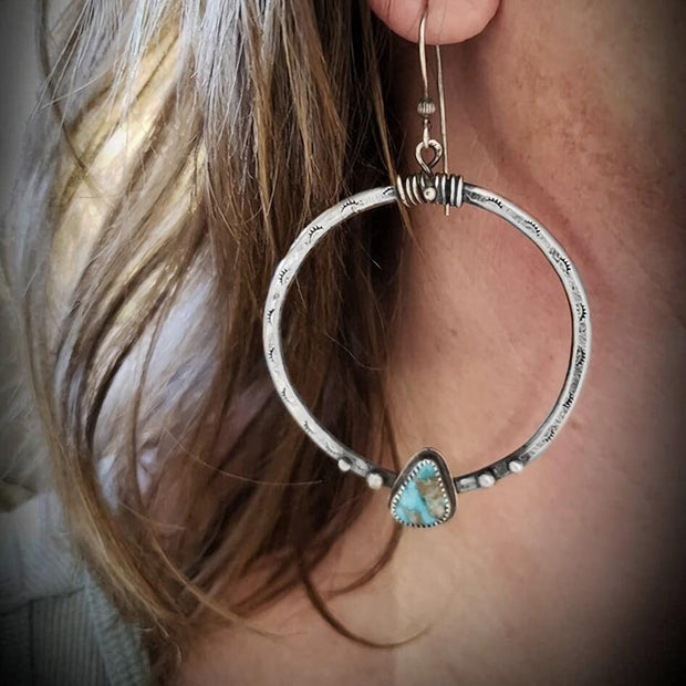 Turquoise Dangle Drop Hook Earrings