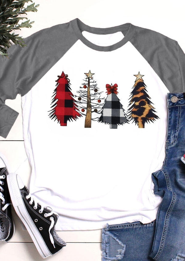 Christmas Plaid Tree Leopard Printed Baseball T-Shirt Tee
