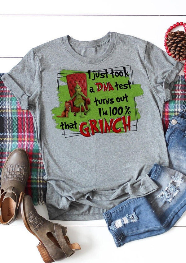 Christmas I'm 100% That Grinch T-Shirt Tee - Gray