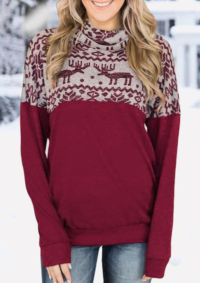 Christmas Reindeer Cowl Neck Sweatshirt - Burgundy