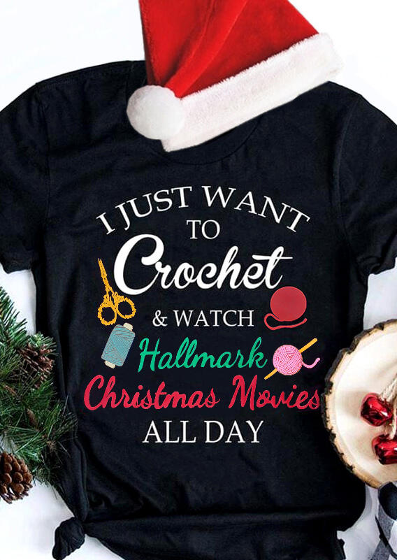 I Just Want To Watch Hallmark Movies T-Shirt Tee - Black
