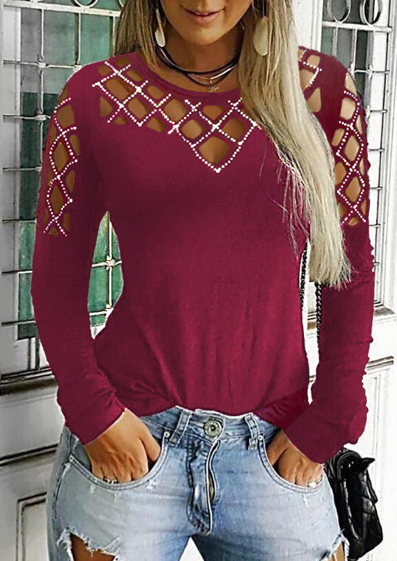Hollow Out Long Sleeve Blouse without Necklace