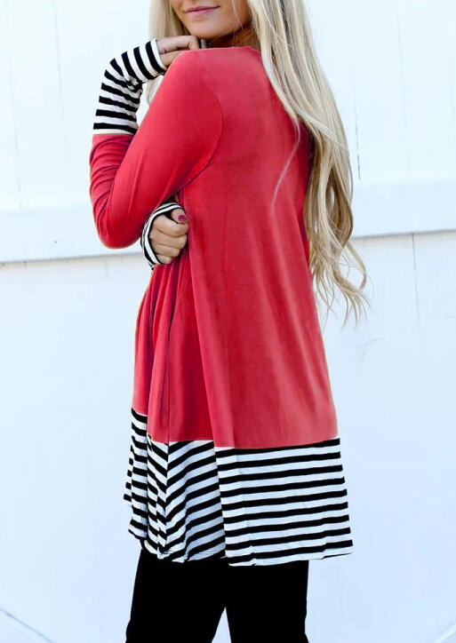 Color Block Striped Splicing Blouse - Red