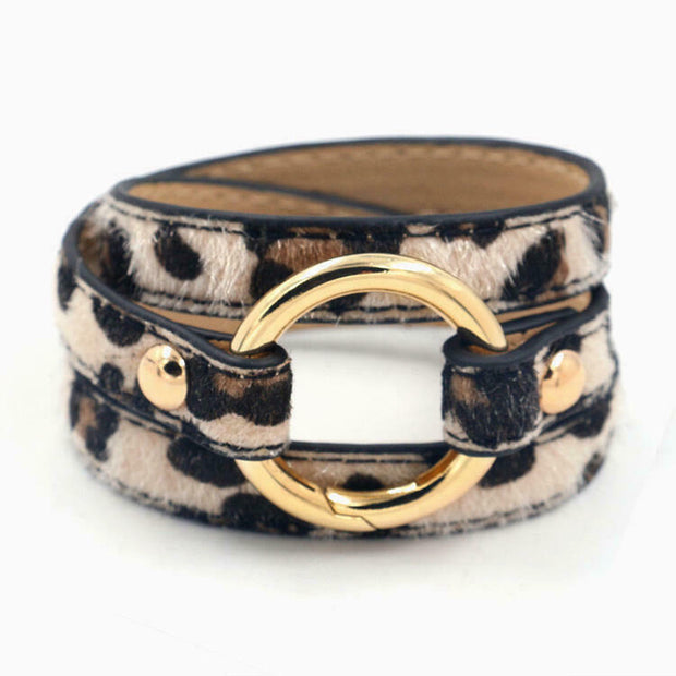 Leopard Printed Adjustable Wide Leather Bracelet