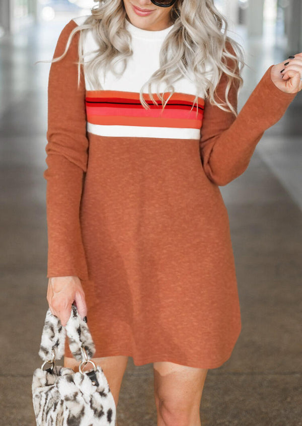 Striped Color Block O-Neck Mini Dress - Brown