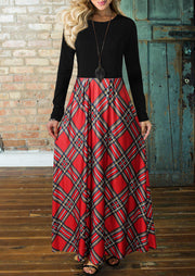 Plaid Splicing Pocket Maxi Dress without Necklace - Red