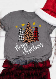 Plaid Leopard Printed Merry Christmas Trees T-Shirt Tee - Gray