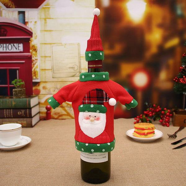 Christmas Decoration Santa Snowman Knit Wine Bottle Sweater Cover