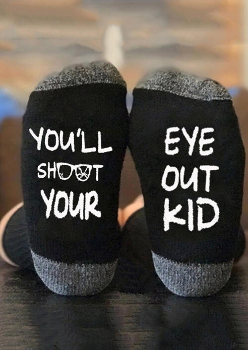 You'll Shoot Your Eye Out Kid Socks - Black