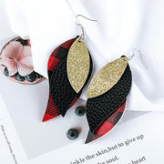 Buffalo Plaid Sequined Leaf Multi-Layered Leather Earrings