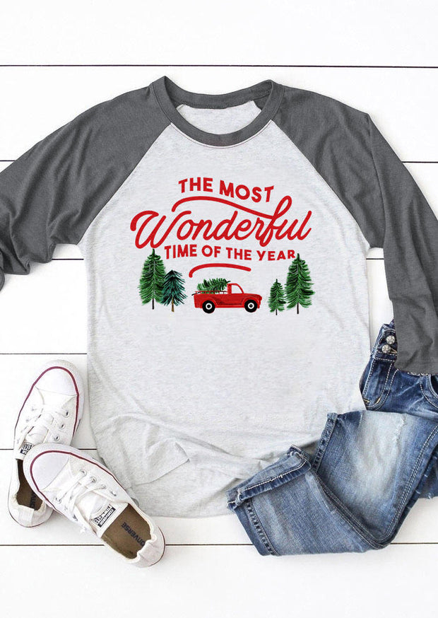 The Most Wonderful Time Of The Year Christmas Tree T-Shirt Tee -  Light Grey