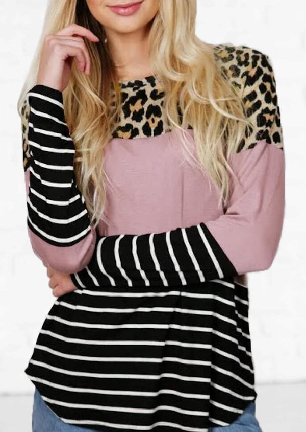 Striped Splicing Leopard Printed O-Neck Blouse