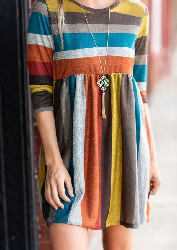 Color Block Striped Pocket Mini Dress without Necklace