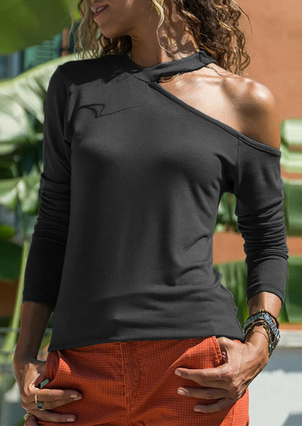 Solid V-Neck One Cold Shoulder  Long Sleeve Blouse - Black