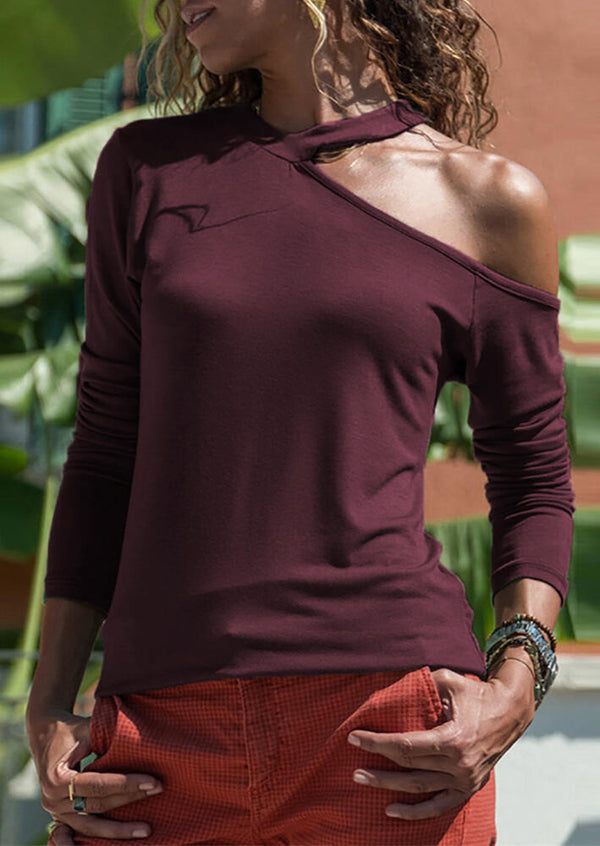 Solid V-Neck One Cold Shoulder  Long Sleeve Blouse - Burgundy