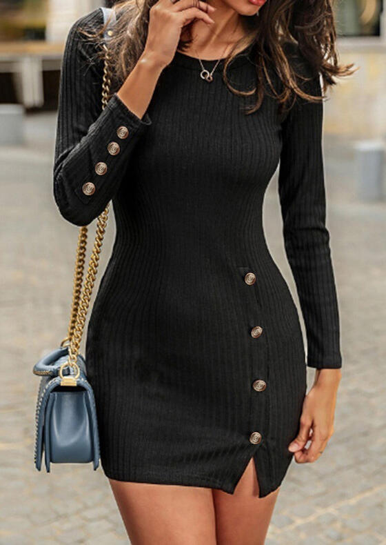 Solid Button Bodycon Dress without Necklace - Black
