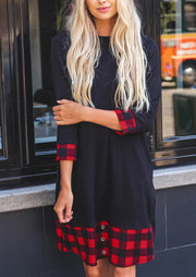 Plaid Splicing Pocket Mini Dress - Black