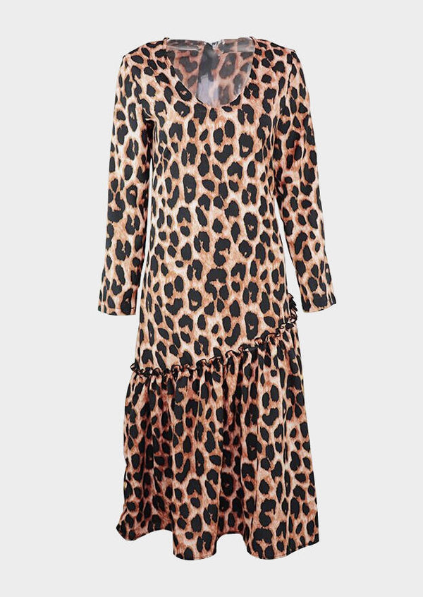 Leopard Printed V-Neck Maxi Dress without Necklace