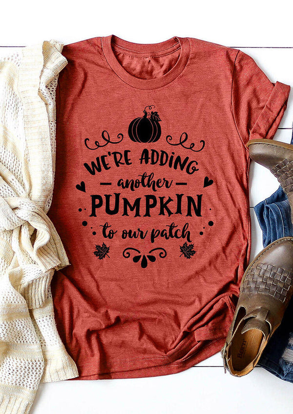 Maternity Adding Another Pumpkin To Our Patch T-Shirt Tee - Brick Red