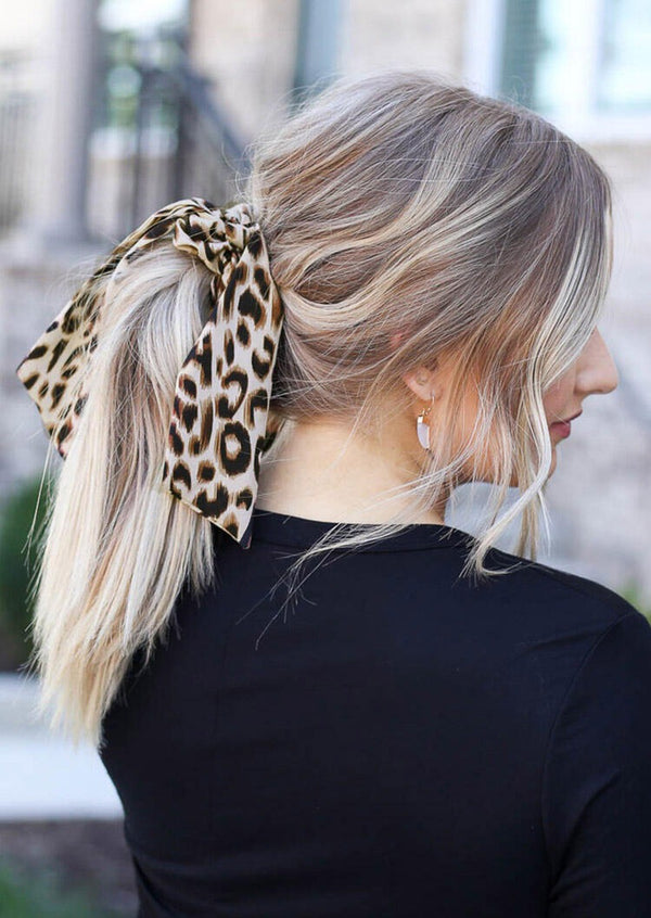 Leopard Printed Hair Scarf Scrunchie