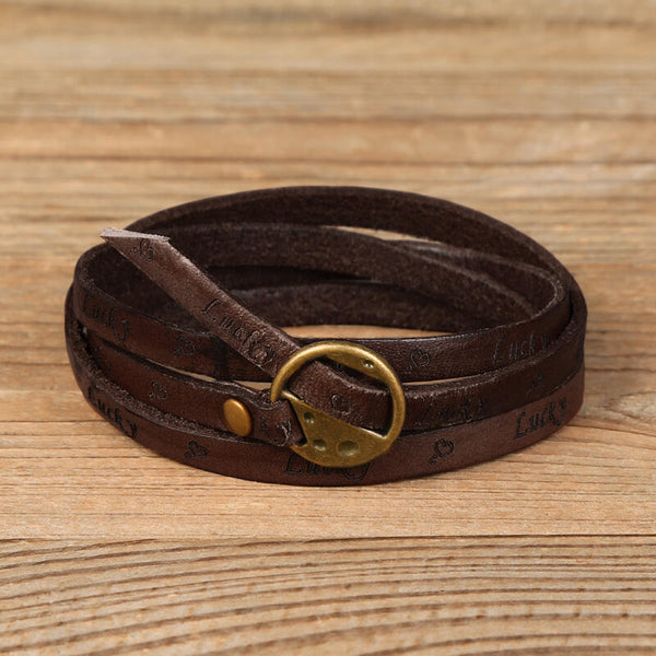 Vintage Multi-Layered Lucky Friend Leather Bracelet