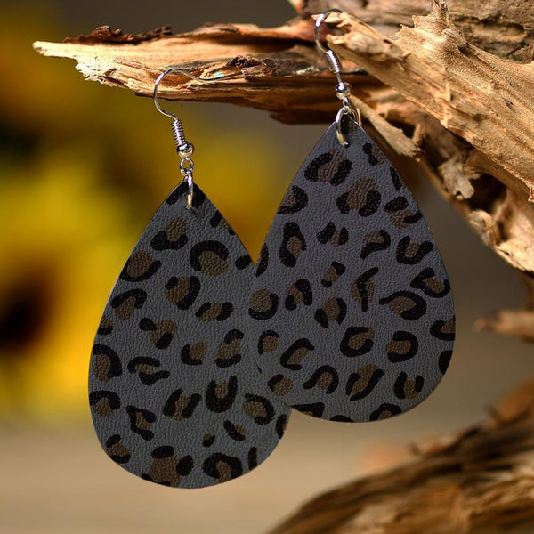 Leopard Printed Leather Earrings