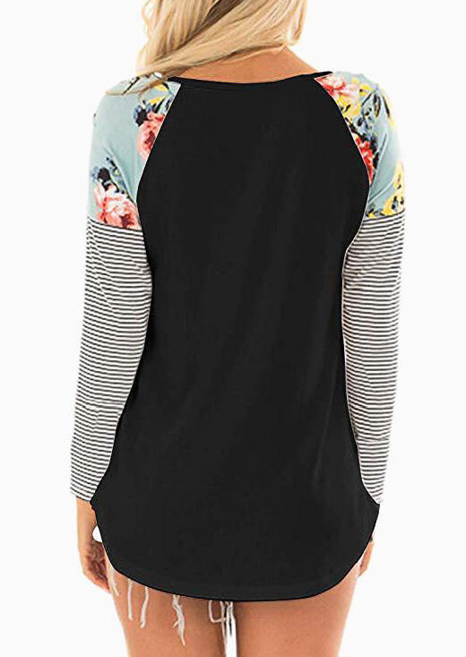 Floral Striped Splicing O-Neck T-Shirt Tee - Black
