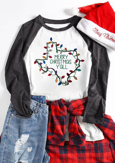 Merry Christmas Y'all O-Neck T-Shirt Tee - White