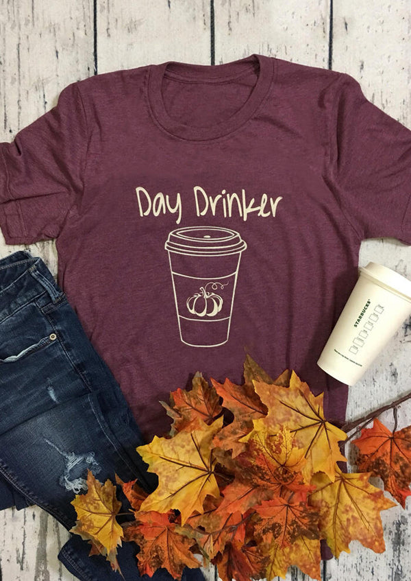 Day Drinker Pumpkin O-Neck T-Shirt Tee - Cameo Brown