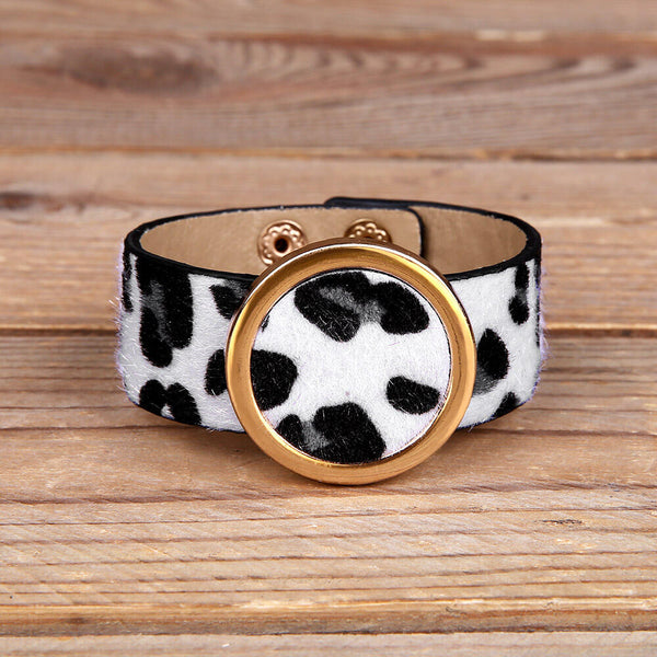 Leopard Printed Faux Fur PU Leather Bracelet