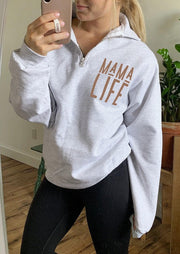 Mama Life Zipper Sweatshirt - Light Grey