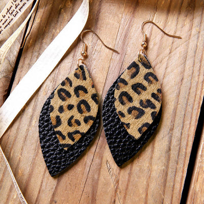 Leopard Printed Double-Layered Leather Earrings