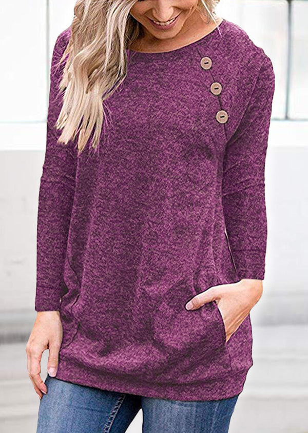 Solid Pocket Buton Blouse - Plum