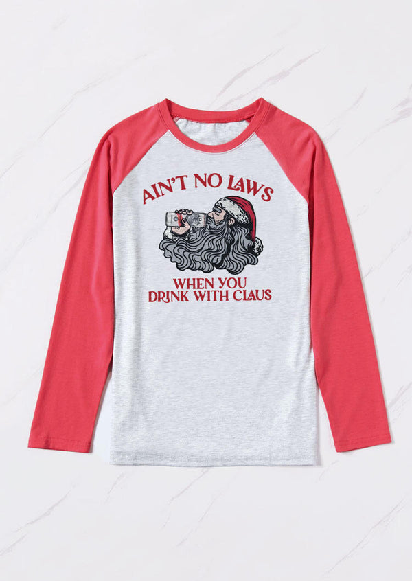 Ain't No Laws When You Drink With Claus Christmas T-Shirt Tee - Gray