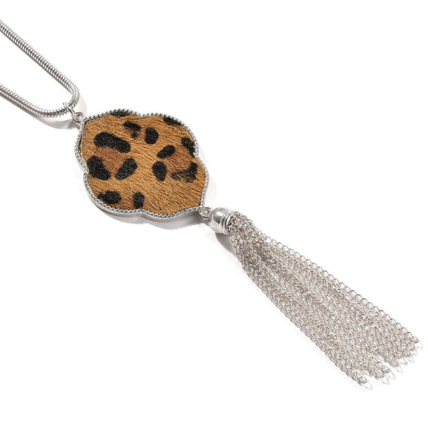 Leopard Printed Faux Fur Tassel Necklace