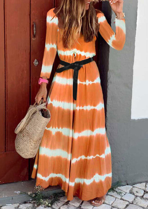 Striped Splicing O-Neck Maxi Dress without Necklace - Orange