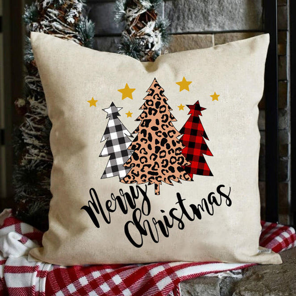 Buffalo Plaid Leopard Printed Tree Merry Christmas Pillowcase without Pillow Inner