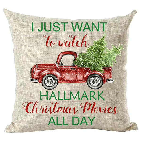 Car Tree Hallmark Christmas Movies Pillowcase without Pillow