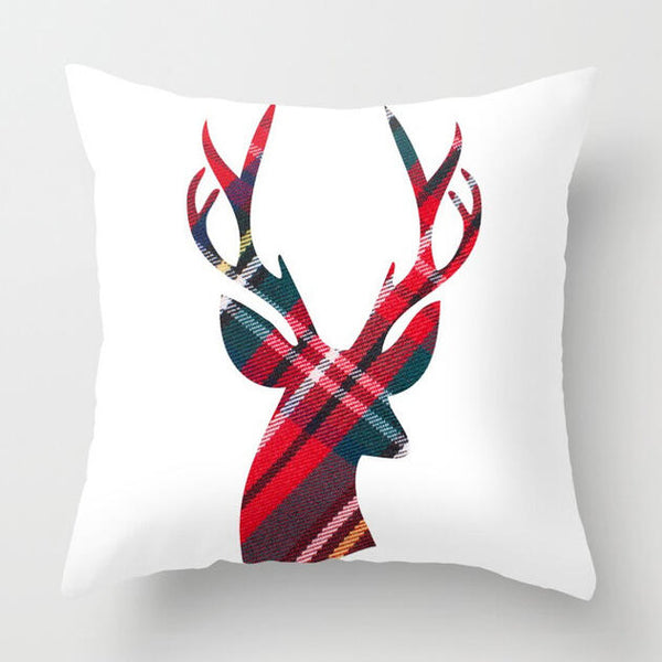 Christmas Moose Plaid Printed Pillowcase without Pillow
