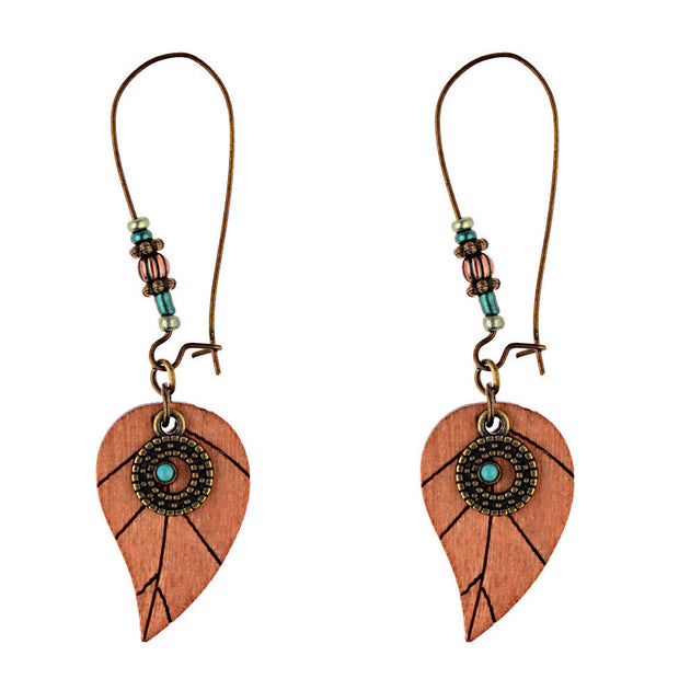 Vintage Wooden Leaf Beading Earrings