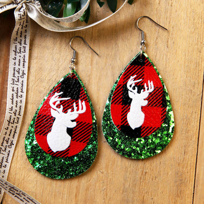 Buffalo Plaid Christmas Elk Sequined Pendant Earrings