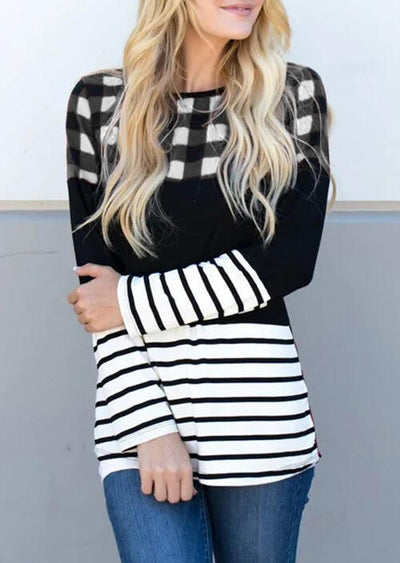 Plaid Splicing Striped O-Neck Blouse - White