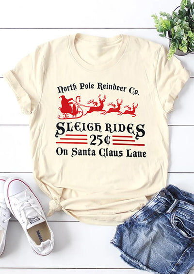 Christmas North Pole Reindeer Co T-Shirt Tee - Cream
