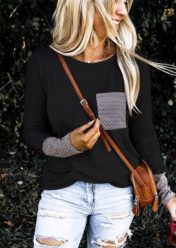Geometric Pocket O-Neck Blouse without Necklace - Black