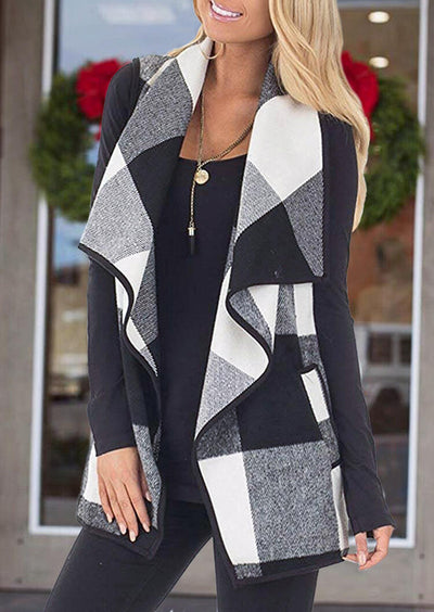 Plaid Pocket Sleeveless Vest Cardigan without Necklace - Black