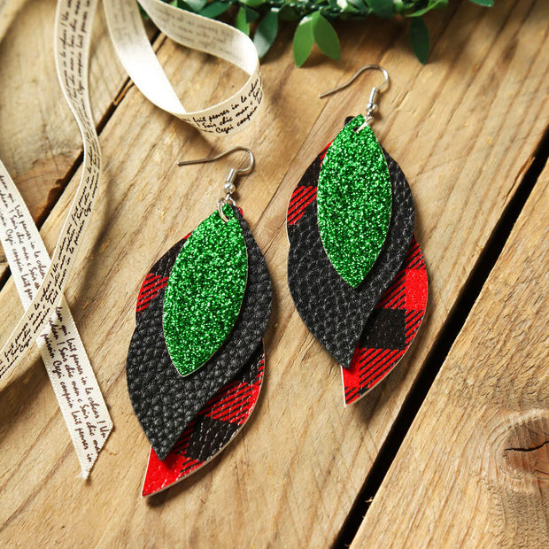 Three-Layered Sequined Plaid Leather Earrings