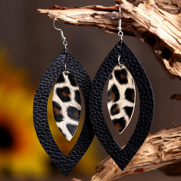 Leopard Printed Hollow Out Pendant Earrings