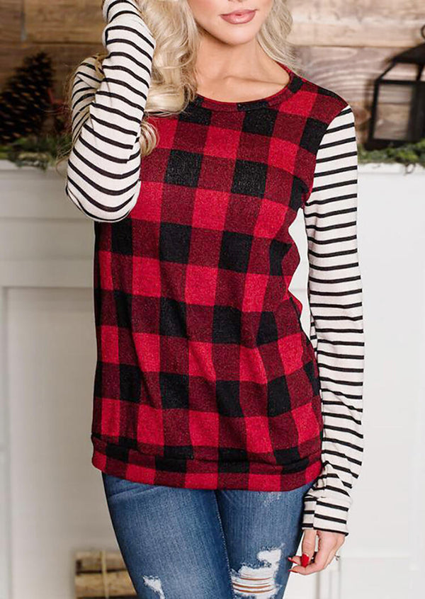 Plaid Striped Splicing T-Shirt Tee - Red