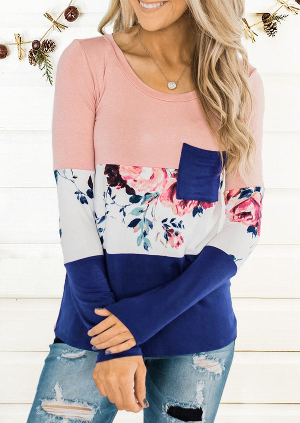 Floral Color Block Splicing Pocket T-Shirt Tee without Necklace - Pink