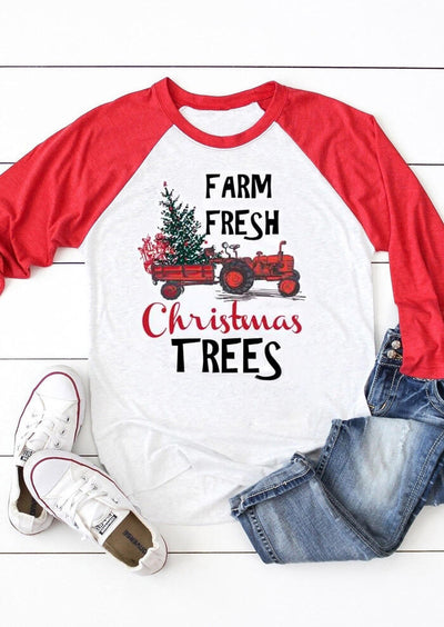 Farm Fresh Christmas Trees T-Shirt Tee - White